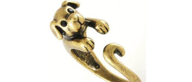 Vintage Gold Puppy Ring of Love...A Wag Cool Gift to Get